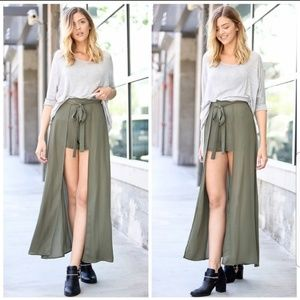 Dresses & Skirts - Olive Green Double Layered Skirt/Shorts